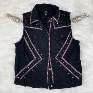 Forever 21 Black Studded Boho Vest Size M